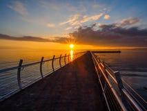 Sonnenuntergang am Ogden Point-Wellenbrecher, Victoria BC Stockbilder