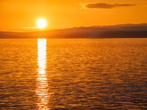 Sonnenuntergang am Ogden Point-Wellenbrecher, Victoria BC Stockbild