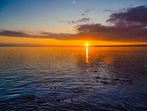 Sonnenuntergang am Ogden Point-Wellenbrecher, Victoria BC Stockfotografie