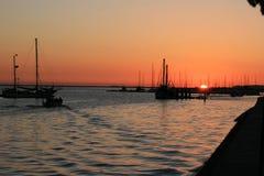 Sonnenuntergang in Olhao Stockbild