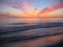 Sonnenuntergang am Orre Strand Lizenzfreie Stockbilder