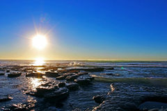 Sonnenuntergang, Ozean, San Diego, Torrey Pines State Park Stockfotos