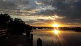 Sonnenuntergang, Palmen-Fluss Stockbilder