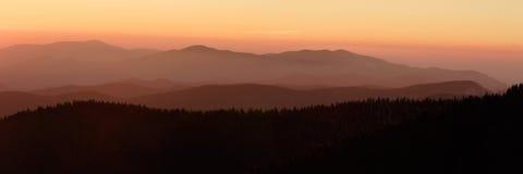 Sonnenuntergang-Panorama Clingmans von der Haube Stockfotografie