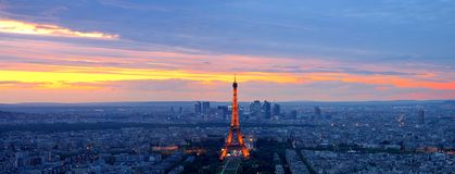 Sonnenuntergang in Paris Stockbild