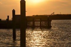 Sonnenuntergang-Pier Stockbilder