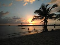 Sonnenuntergang Playa Rompeolas Aquadillia Puerto Rico Stockfotos