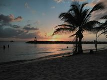 Sonnenuntergang Playa Rompeolas Aquadillia Puerto Rico Stockbilder