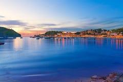 Sonnenuntergang Port de Soller in Majorca in Baleareninsel Stockbild