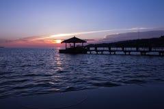 Sonnenuntergang in Portoroz Lizenzfreies Stockfoto