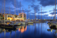 Sonnenuntergang in Puerto de Mogan, Gran Canaria, Spanien lizenzfreie stockbilder