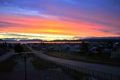 Sonnenuntergang in Puerto Natales Stockfoto
