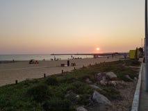 Sonnenuntergang Quarteira Portugal Stockfotografie