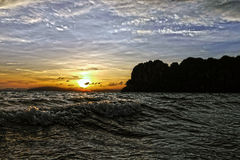 Sonnenuntergang in Railay-Strand thailand Stockbild