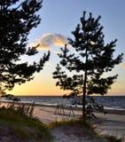 Sonnenuntergang am Riga-Golf, Ostsee, Lettland lizenzfreie stockbilder