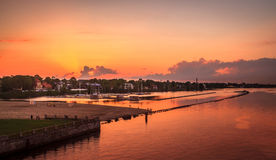 Sonnenuntergang in Riga, Lettland Lizenzfreie Stockfotos