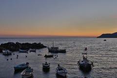 Sonnenuntergang Riomaggiore Stockfoto