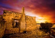 Sonnenuntergang-Ruinen stockfoto