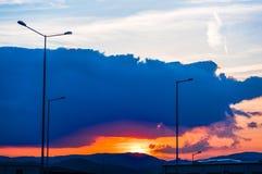 Sonnenuntergang in Rumänien Stockfotografie