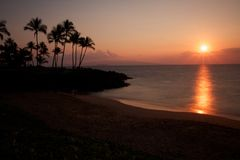Sonnenuntergang in Süd-Maui Stockfotos