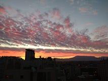 Sonnenuntergang in Santiago stockbilder