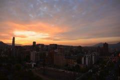 Sonnenuntergang in Santiago-Paprika Stockfotos