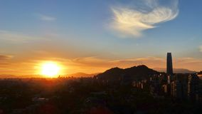 Sonnenuntergang in Santiago-Paprika Lizenzfreie Stockfotos
