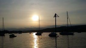 Sonnenuntergang am Schiff stockbilder