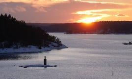 Sonnenuntergang in Schweden lizenzfreie stockbilder