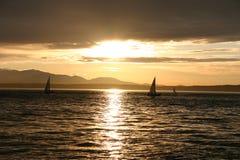 Sonnenuntergang in Seattle stockfoto