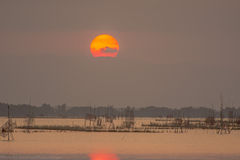 Sonnenuntergang in See Lizenzfreies Stockfoto
