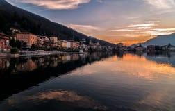 Sonnenuntergang am See Lugano Lizenzfreies Stockbild