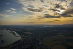 Sonnenuntergang am See Velencei Lizenzfreie Stockfotografie