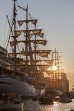 Sonnenuntergang am Segel Amsterdam Lizenzfreies Stockbild