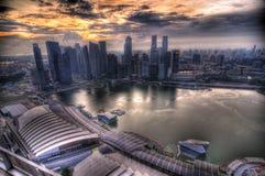 Sonnenuntergang am Singapur-Zentralgeschäftsgebiet Stockfoto