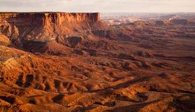 Sonnenuntergang-Soda- Springsbecken-Green River Canyonlands Nationalpark stockfotos