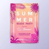 Sonnenuntergang-Sommer-Strandfest-Design Stockfotos