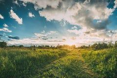 Sonnenuntergang, Sonnenaufgang über ländlicher Wiese Drastischer Himmel und Land-Straße Lizenzfreie Stockfotografie