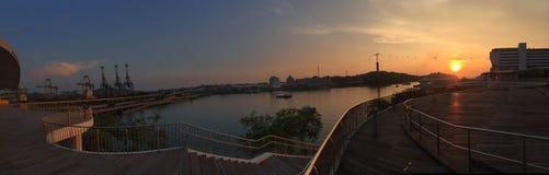 Sonnenuntergang-Stadt-Insel Singapur stockfoto