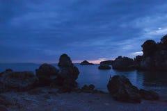 Sonnenuntergang an Strand Parga Griechenland Piso Krioneri Stockbilder