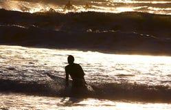Sonnenuntergang-Surfer Stockfotografie