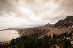 Sonnenuntergang in Taormina, Sizilien, Italien Stockfotografie