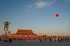 Sonnenuntergang am Tiananmen-Platz Lizenzfreie Stockfotos