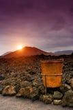 Sonnenuntergang in Timanfaya, Lanzarote Stockfotografie