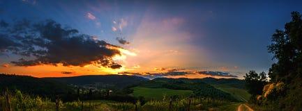 Sonnenuntergang in Toskana Stockfotografie