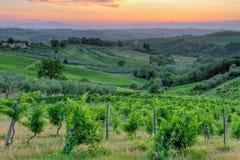 Sonnenuntergang in Toskana stockfoto