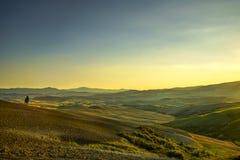 Sonnenuntergang Toskana Maremma Bäume, Ackerland, Hügel und Felder ital Lizenzfreie Stockfotografie