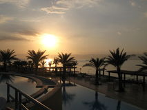 Sonnenuntergang in Totem Meer, Jordanien Stockbild