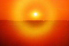 Sonnenuntergang in Tulskaya-oblast, Russland Stockfotografie