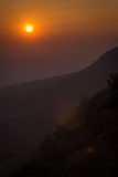 Sonnenuntergang und Berg stockfoto